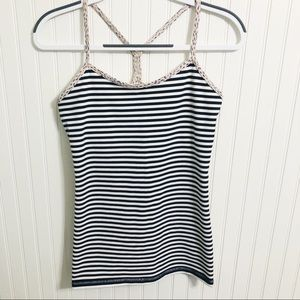 Lululemon Black and White Striped Tank Top